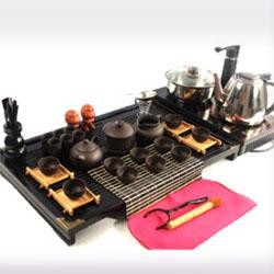 宜兴紫砂功夫茶具套装实木四合一茶盘整套电磁炉汝窑茶具