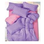 缘艺 活性芦荟棉波点三件套 1.2M床 浅粉紫