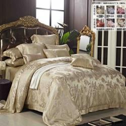 润美家纺 100桑蚕丝 重磅色织真丝大提花四件套/多件套件 正床品